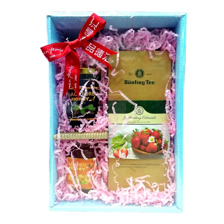 母亲节礼盒(草莓奶油花果茶200g+椴树蜂蜜240g+黑森林蜂蜜240g)